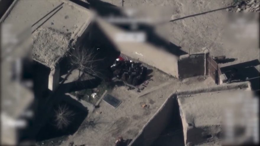 Afghan Air Force footage shows Taliban insurgents go into slices in a drone